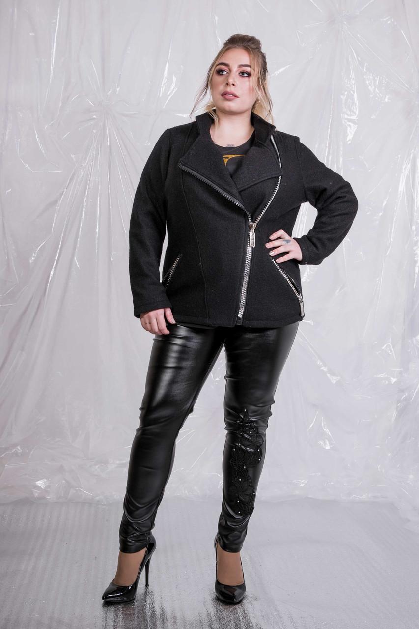(от 42 до 90 размера) Женская буклированная куртка-косуха в больших размерах vN629