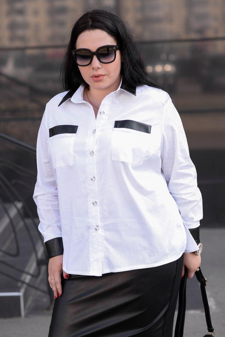 Женская белая рубашка большого размера a-vN675
