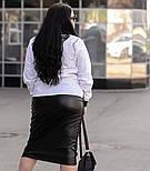 Женская белая рубашка большого размера a-vN675, фото 2