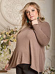 Ангоровая женская кофта в больших размерах асимметричная vN783, фото 2