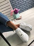 Стильные женские белые кожаные кроссовки, фото 4