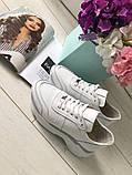 Стильные женские белые кожаные кроссовки, фото 6
