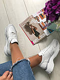 Стильные женские белые кожаные кроссовки, фото 7