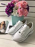 Стильные женские белые кожаные кроссовки, фото 2