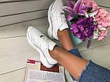 Стильные женские белые кожаные кроссовки, фото 8