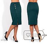 Женская юбка - карандаш в больших размерах с небольшим разрезом и декором vN1276, фото 2