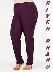 Зауженные женские брюки в больших размерах из костюмки vN1285