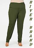 Зауженные женские брюки в больших размерах из костюмки vN1285, фото 2