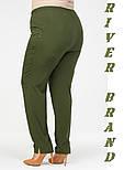 Зауженные женские брюки в больших размерах из костюмки vN1285, фото 5