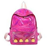 Голограммный рюкзак малиновый с силиконовым карманом