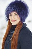 Женская меховая Шапка    из цветной чернобурки Zм55  Джинс