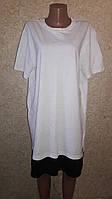 Белая хлопковое платье-футболка в спортивном стиле оверсайз с черной сеткой внизу
