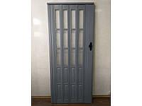 Новинка. Двери гармошка полуостеклённые серый 86х203, Более 20 цветов. Межкомнатные двери гармошка.