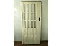 Новинка. Двери гармошка полуостеклённые кедр 86х203, Более 20 цветов. Межкомнатные двери гармошка.