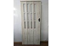Новинка! Двери гармошка полуостеклённые дуб беленый 86х203, Более 20 цветов. Двери пластиковые.