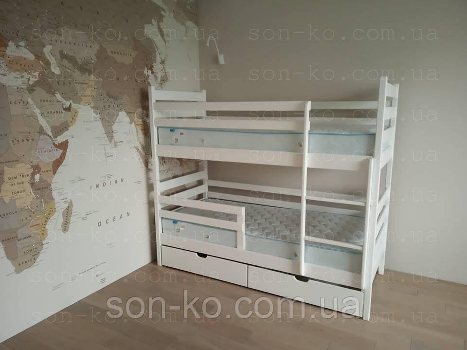 Двоярусне ліжко з масиву буку Кароліна