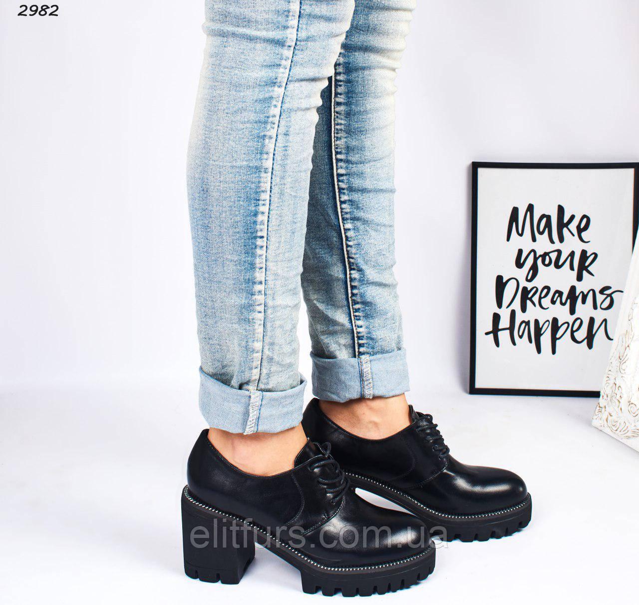 Туфли со шнуровкой на каблуках, эко-кожа