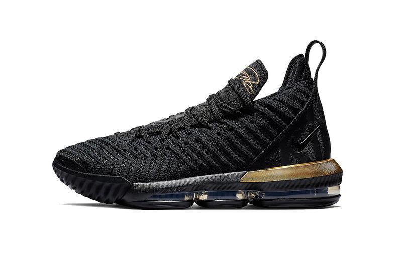 Мужские Кроссовки NIKE LEBRON 16 Zoom Black/Gold Черные высокие