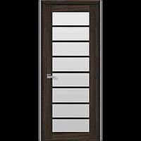 Дверь межкомнатная Виола орех 3D 600 мм со стеклом сатин (матовое), Экошпон.