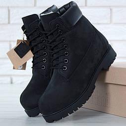 Зимние ботинки мужские T1mberland Classic Black с шерстяным мехом. Живое фото (Реплика ААА+)