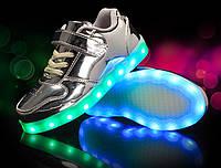 Silver Kids Step, Серебристые глянцевые светящиеся кроссовки LED (USB подзарядка), размер 25-31 (LK 1016)