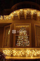 Световое украшение дома на новый год, иллюминация фасадов зданий