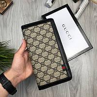 Стильный бумажник Gucci коричневый мужской натуральная кожа кошелек Новинка 2019 года Брендовый Гуччи копия
