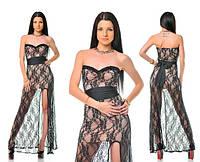 Платье вечернее бежевое с гипюром