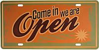 "Металева / ретро табличка ""Заходьте, Open We Are / Come In, Open We Are"""