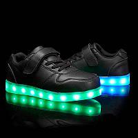 Black Kids Step, Черные светящиеся кроссовки LED (USB подзарядка), размер 25,27,29,31 (LK 1018)