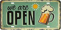 """Металева / ретро табличка """"Ми Відкриті (Пиво) / We Are Open (Beer)"""""""