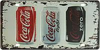 """Металлическая / ретро табличка """"Кока-Кола / Coca-Cola (Classic, Light, Zero)"""""""