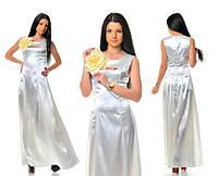 Платье атласное с цветком