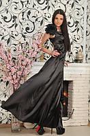 Платье атласное черное с цветком