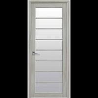 Дверь межкомнатная Виола ясень патина 600 мм со стеклом сатин (матовое), Экошпон.