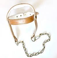Упряжь (шлем) для тренировки шеи, утяжелитель на голову (кожа)