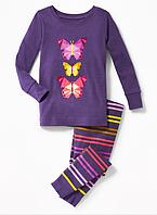 Детская трикотажная пижама с бабочками Old Navy для девочки