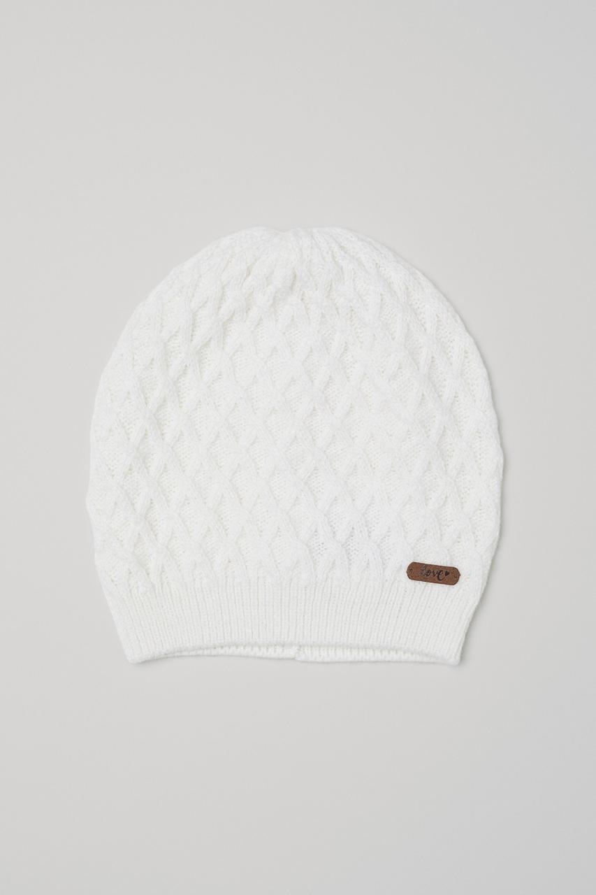Детская вязанная демисезонная шапочка для девочки