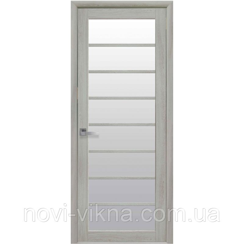 Дверь межкомнатная Виола ясень патина 900 мм со стеклом сатин (матовое), Экошпон.