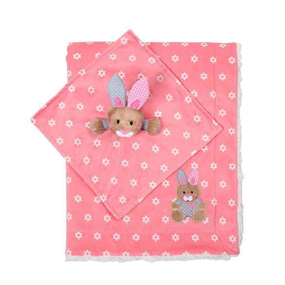 Одеяльце двухстороннее «Minky» с первой обнимашкой (зайчик) BabyOno