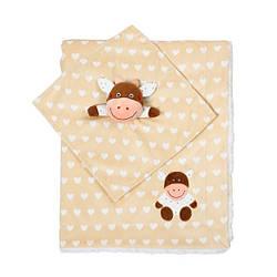 Одеяльце двухстороннее «Minky» с первой обнимашкой (коровка) BabyOno