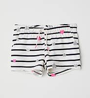 Трикотажные летние шорты в сердечки H&M для девочки