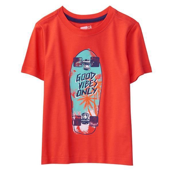 Красная летняя футболка со скейтом Крейзи для мальчика