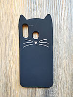 Объемный 3d силиконовый чехол для Samsung A40 Усатый кот черный