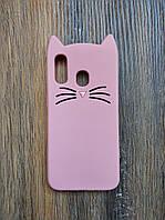 Объемный 3d силиконовый чехол для Samsung A40 Усатый кот розовый