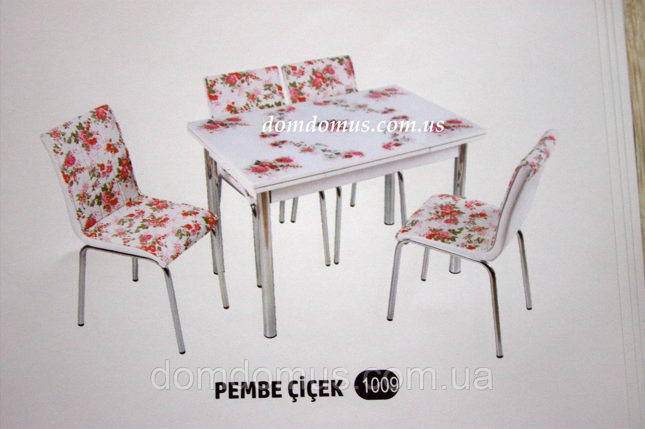 """Комплект обідній меблів """"Pevbe cicek"""" (стіл ДСП, гартоване скло + 4 стільця) Mobilgen, Туреччина"""