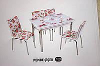 """Комплект обеденной мебели """"Pevbe cicek """" (стол ДСП, каленное стекло + 4 стула) Mobilgen, Турция"""