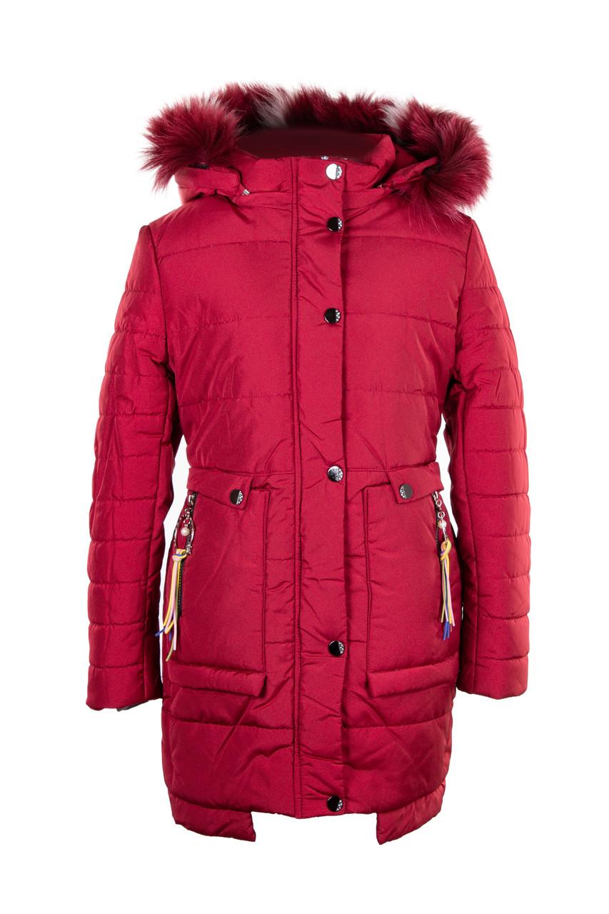 Куртки зимние для девочек  от производителя   32-40 бордовый