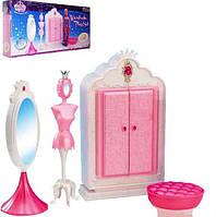 Мебель для кукол Gloria Глория 1209 Гардероб Барби, шкаф, манекен, пуфик, зеркало, аксессуары