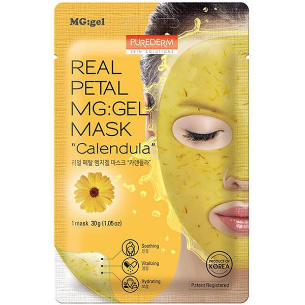 Успокаивающая маска с лепестками календулы Purederm Real Petal MG:gel Mask Calendula